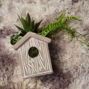 Other - Cement birdhouse faux succulent planter
